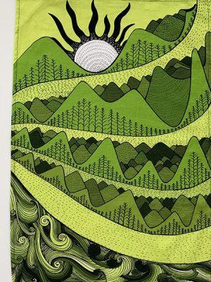 Earth mountain - green plain towel