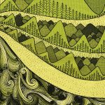 wind, river and mountain - green tea towel