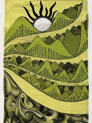 mountain and sun - tea towel