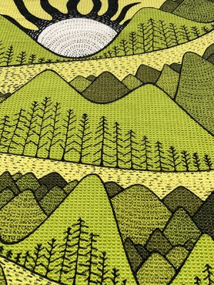 I love nature - mountain and sun tea towel