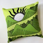 mountain views and river - green accent pillow
