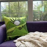 mountain views - green and yellow accent pillow