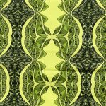 black, yellow and green mountain table runner