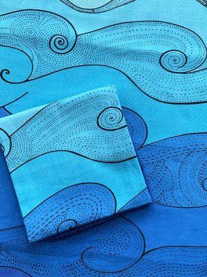 folded ocean tea towels - blue waves
