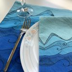 Earth collection - Ocean tea towels with glass, fork and plate