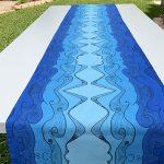 blue ocean waves table runner