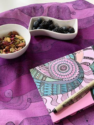 infinite energy flows through me - table napkins and raspberry