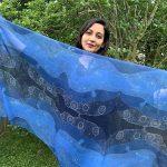 Universe night sky - blue scarf