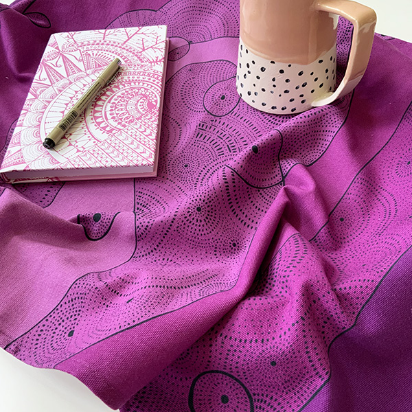 I am limitless - pink and purple tea towel with note and pen
