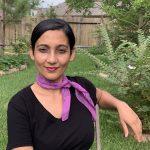 cotton square scarf - cosmic purple and black