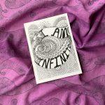 I am infinite art print in cosmic purple scarf