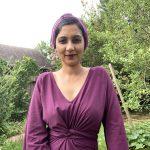 cosmic purple bandana with purple dress