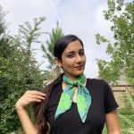 sea green square flowers scarf