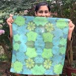 square flowers scarf - green and blue