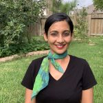 Organic cotton scarf - blue and green