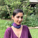 Organic cotton purple blue scarf
