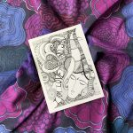 I am love and joy art print card in purple and pink scarf