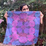 square flowers scarf, bandana - purple and blue