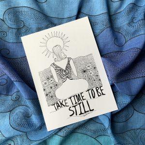 sun and woman mini art print in an ocean blue scarf