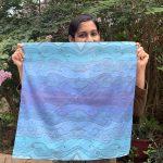 square scarf, bandana - ocean blue