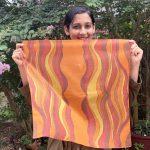square sunrise orange scarf