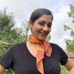 Organic cotton sunrise orange scarf