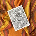 Peace, love and joy mini art print in a sunset orange scarf