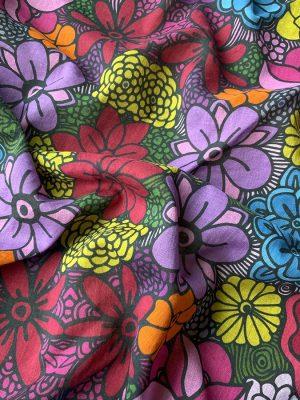 unique colored flowers square scarf