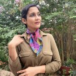 beautiful flowery scarf around the neck