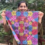 square scarf, bandana - red and violet flowers